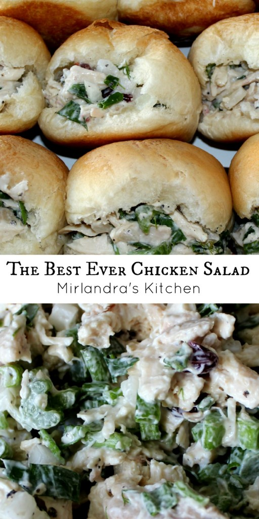 This chicken salad is perfect. It is moist, flavorful and has just a few hints of fruit in it. It is super easy to make your own and downright scrumptious