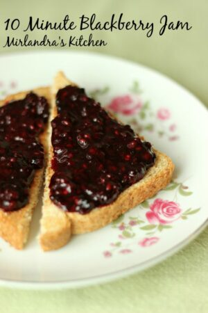 This Blackberry Jam is ready in 10 minutes without cooking or fuss. The sugar is adjustable for different diets and the results taste like fresh berries.