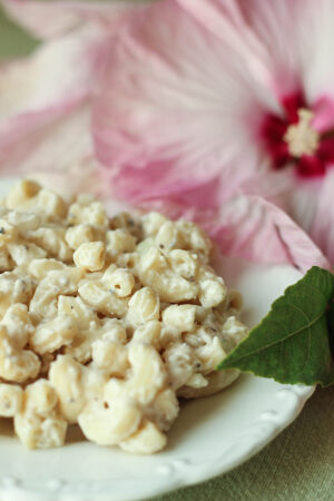 Cool and creamy this Hawaiian Macaroni Salad is heaped on a white plate in front of a large pink hibiscus flower.