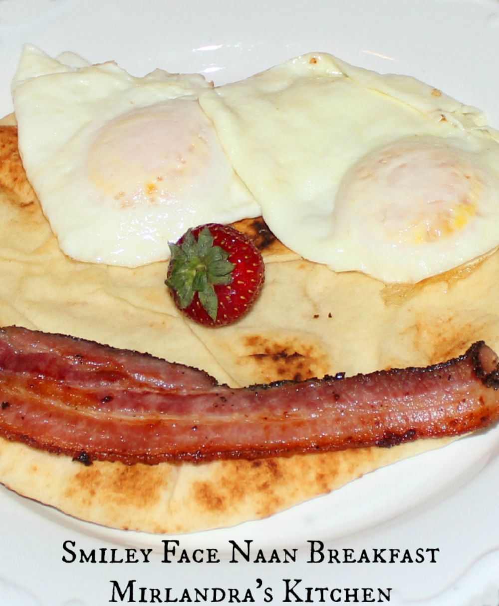 This cute breakfast with naan bread is yummy, simple and great for birthdays and breakfast in bed. Sometimes it is fun to do something a bit more playful!