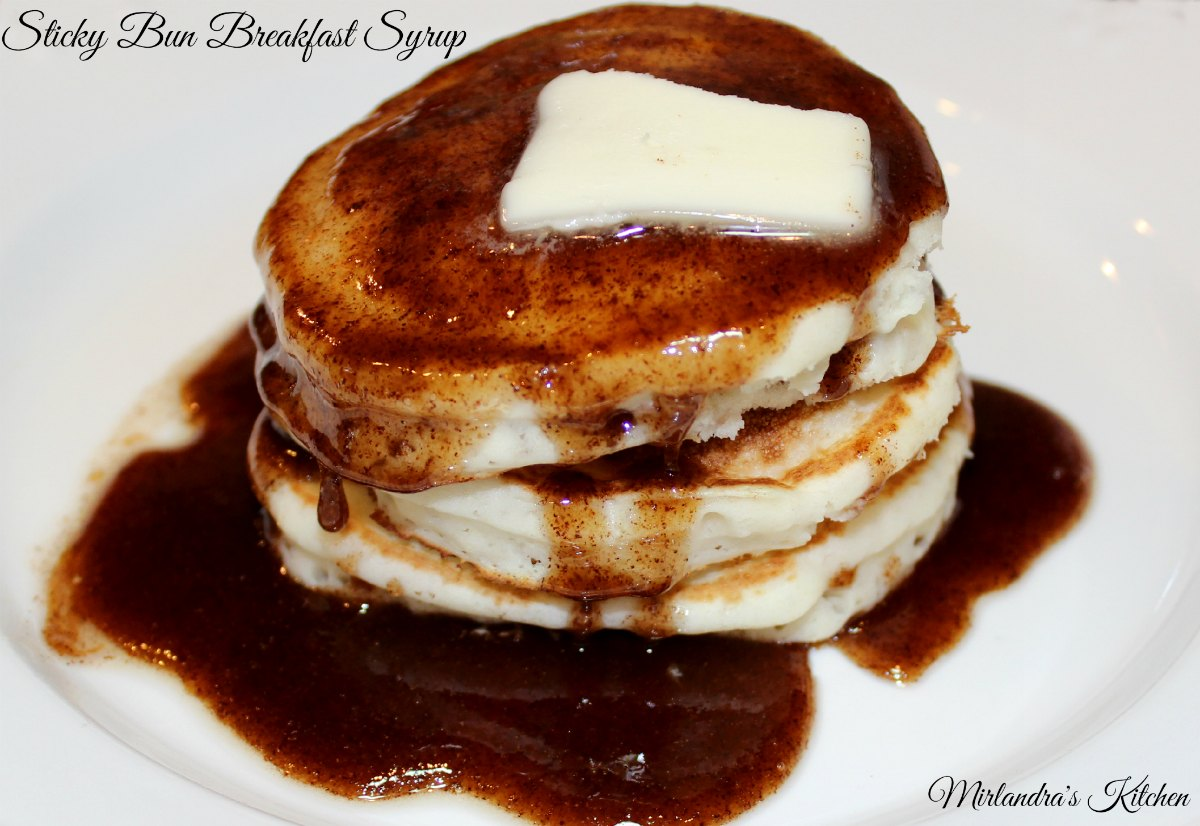 Need a weekend breakfast treat? This Sticky Bun Breakfast Syrup tastes exactly like warm sticky bun sauce got poured on your pancakes. It is rich, full of cinnamon and ready in minutes. Making a pan of sticky buns takes hours. This is instant gratification and I love it!