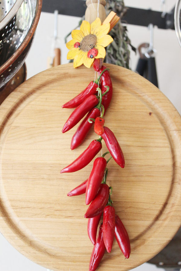 A lovely string of red peppers hangs from a pot rack drying for winter use.