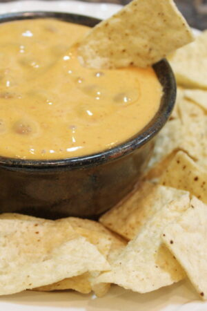 A pottery bowl full of chili con queso sits surrounded by chips. There is a chip stuck into the dip.