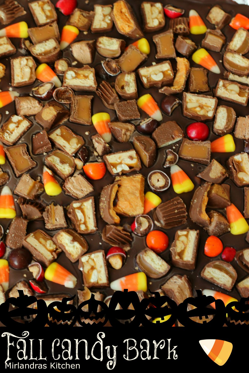 This Fall Candy Bark is the a truly over the top sugar rush perfect for Halloween time when we all have a little too much sugar. Rich milk chocolate is customized with your favorite candy bars and candy corn. No candy lover can resist! It is also easy to make and a good kid project.