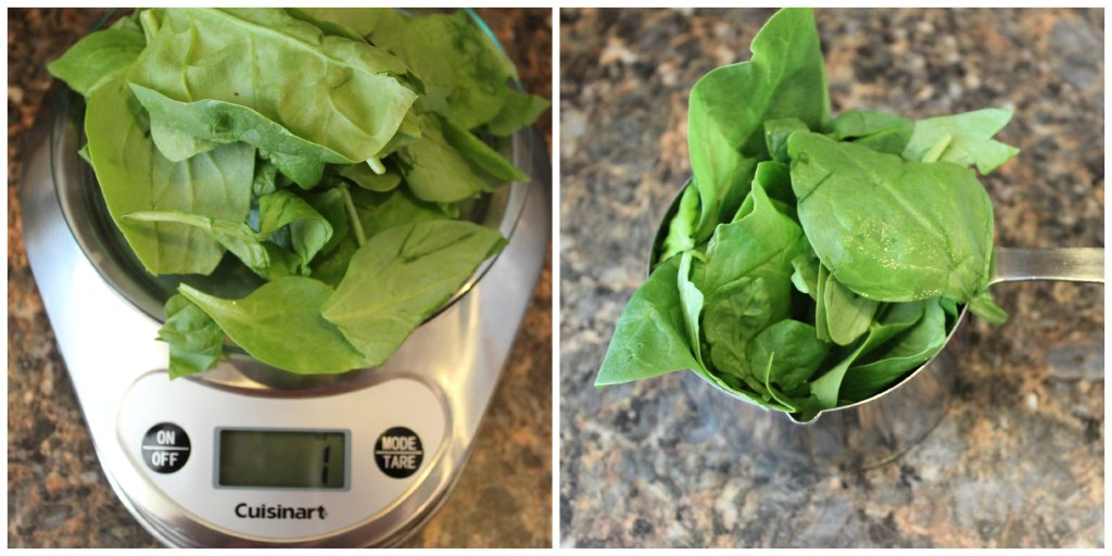 Fresh spinach sits on a kitchen scale to be weighed on the left. On the right the photo is of one measured cup of spinach.
