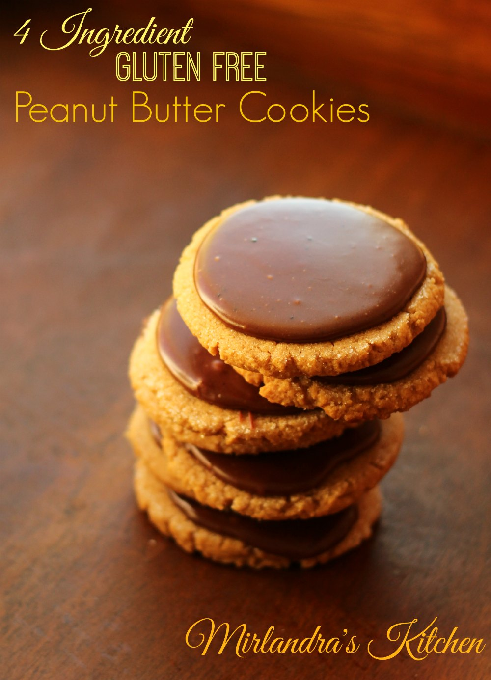 These gluten free peanut butter cookies call for just 4 ingredients and you can't tell they are GF. Add the amazing chocolate frosting for something extra.