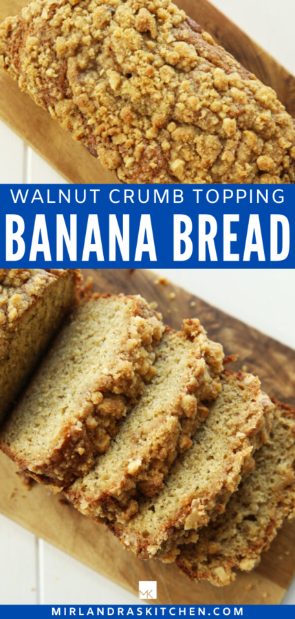banana bread with walnut crumb topping promo image