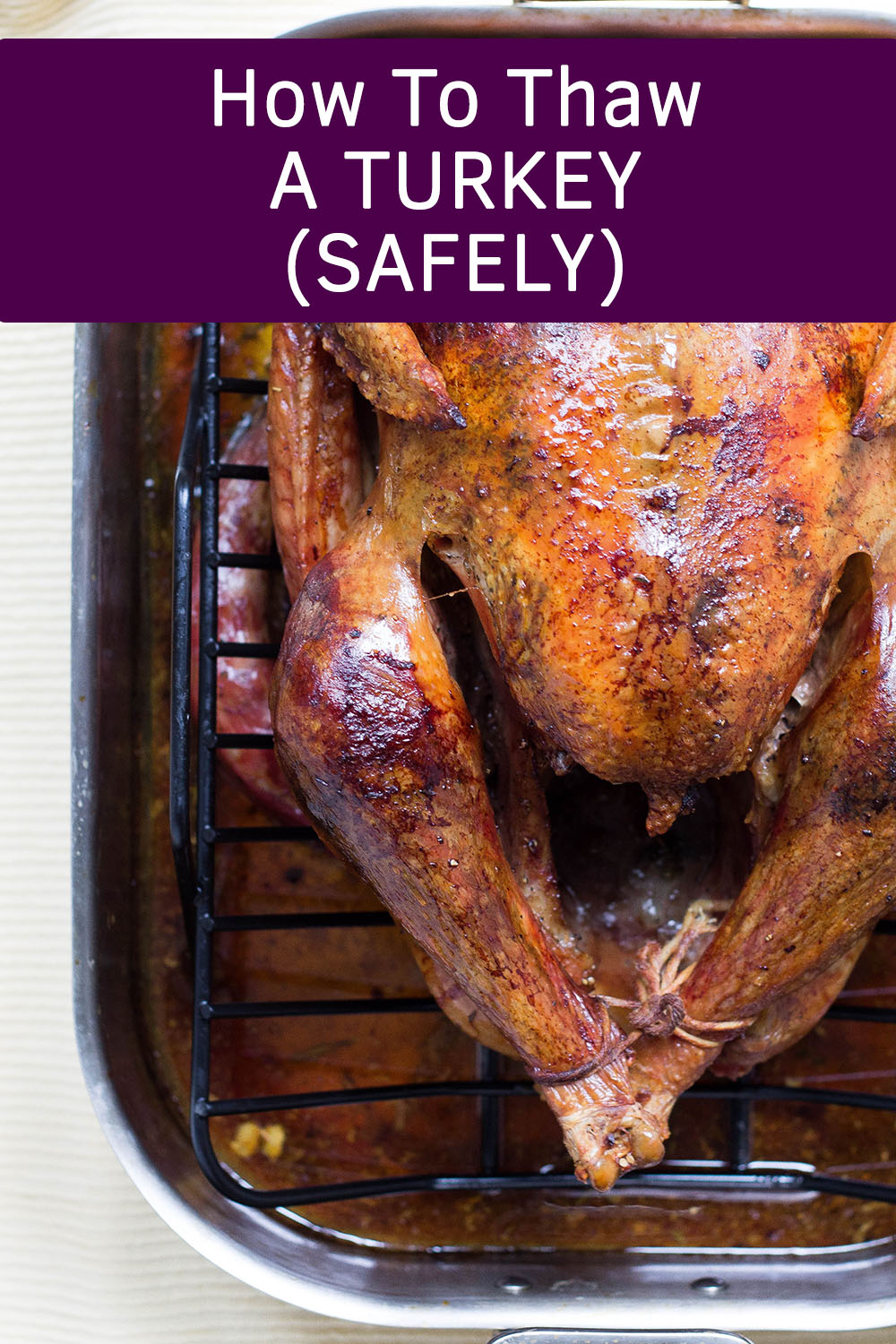 Thawing a turkey wrong can lead to a ruined Thanksgiving dinner or even make people sick.  This easy guide goes over all the right and wrong ways to thaw your bird and how long it will take!