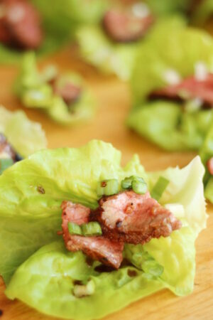 Korean BBQ beef slices sit on a lettuce leaf. There is a garnish of green onions and drizzle of sauce.