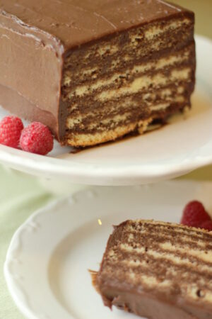 A beautiful, rich chocolate dobos torte sits on a white plate next to a few raspberries. The first slice is cut off and sitting on a plate next to the cake.