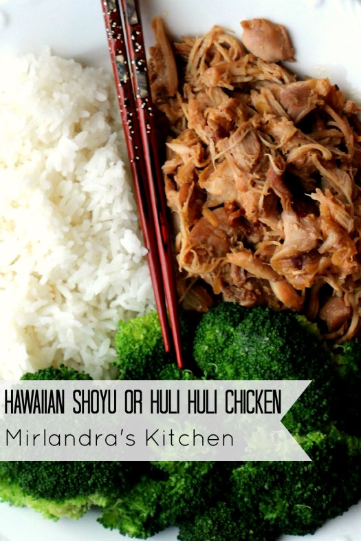 huli huli chicken with chopsticks, white rice and broccoli on a plate