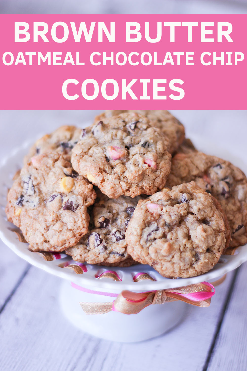 Beautiful, moist and chewy brown butter oatmeal chocolate chip cookies with springtime colored chocolate chips for Easter.