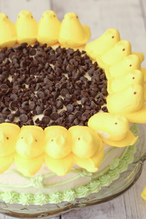 A peeps sunflower cake sits on a glass cake stand. The peeps are arranged around the edge of a white cake with chocolate chips in the center to look like a sunflower.