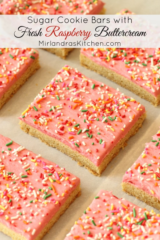 Soft, chewy sugar cookie bars are frosted with a bold, raspberry buttercream. These bars are simple and full of fresh summer flavors. Everybody loves them.