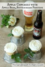 Delicate apple cupcakes are lightly flavored with Apple Beer and frosted with a decadent Apple Beer Buttercream. Easy frosting instructions for weddings.
