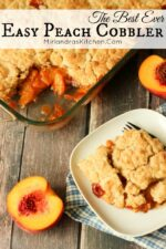 This Easy Peach Cobbler has a rich sweet filling and a topping that is the perfect balance between biscuit and cake. Check out my tips to keep prep easy!