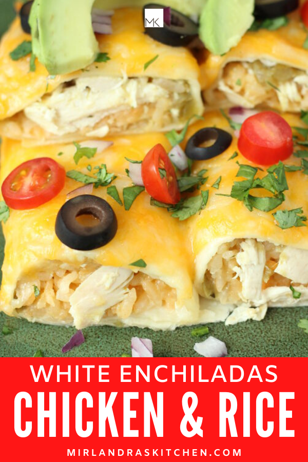 white enchiladas with chicken and rice promo image