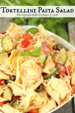 Cheese tortellini, fresh veggies and tangy Italian dressing come together for a fresh and flavorful Tortellini Pasta Salad in 15 minutes.