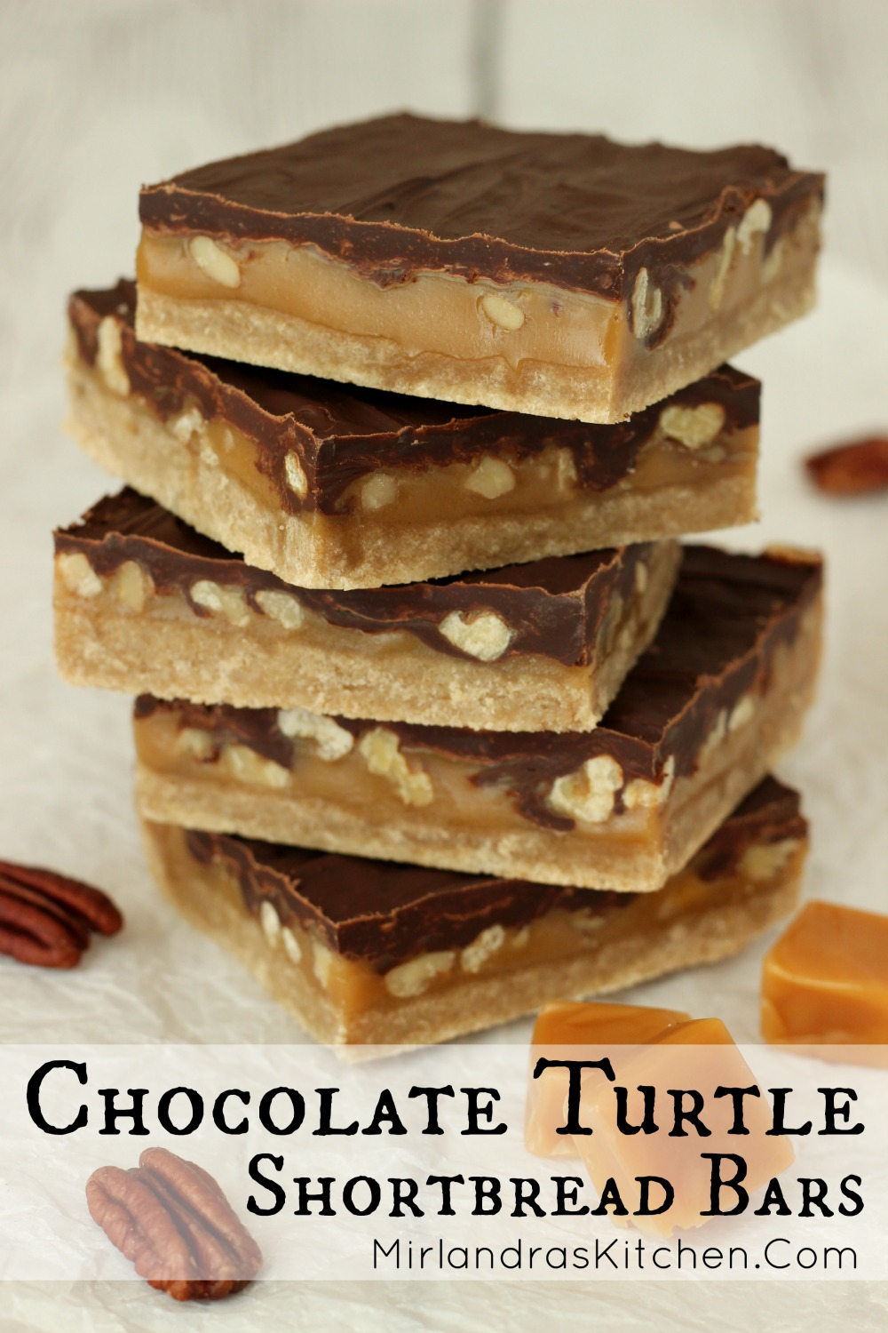 These decadent Chocolate Turtle Shortbread Bars are decadent to the extreme but not hard to put together. The bars are made from rich buttery shortbread and gooey caramel full of pecans or walnuts all slathered with a thick layer of chocolate. Am I speaking your language yet? You need a pan of these!