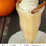 This pumpkin pie milkshake tastes just like whirled up pumpkin pie with just a hint of Captain Morgan Spiced Rum. Caution: it kicks like a mule!