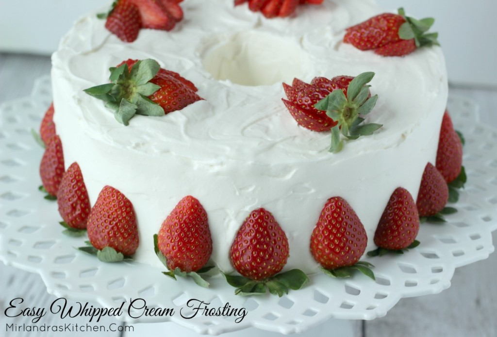 Light fluffy whipped cream frosting makes it easy to create a beautiful cake in minutes and is a delicious alternative to buttercream. I especially love it on my springtime cakes! (Hint - save this recipe for Valentine's Day and Easter!)