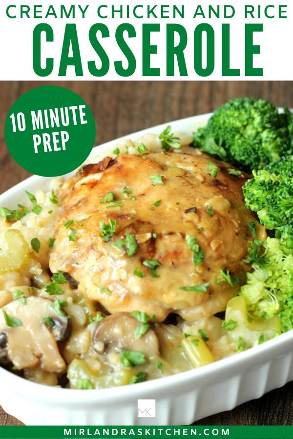 creamy chicken and rice casserole promo image