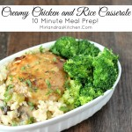 This Creamy Chicken and Rice Casserole is a family favorite full of flavorful rice and creamy sauce with celery, mushrooms and chicken. It only takes 10 minutes to get it into the oven which makes it perfect for busy nights! If you have leftovers they heat up well.