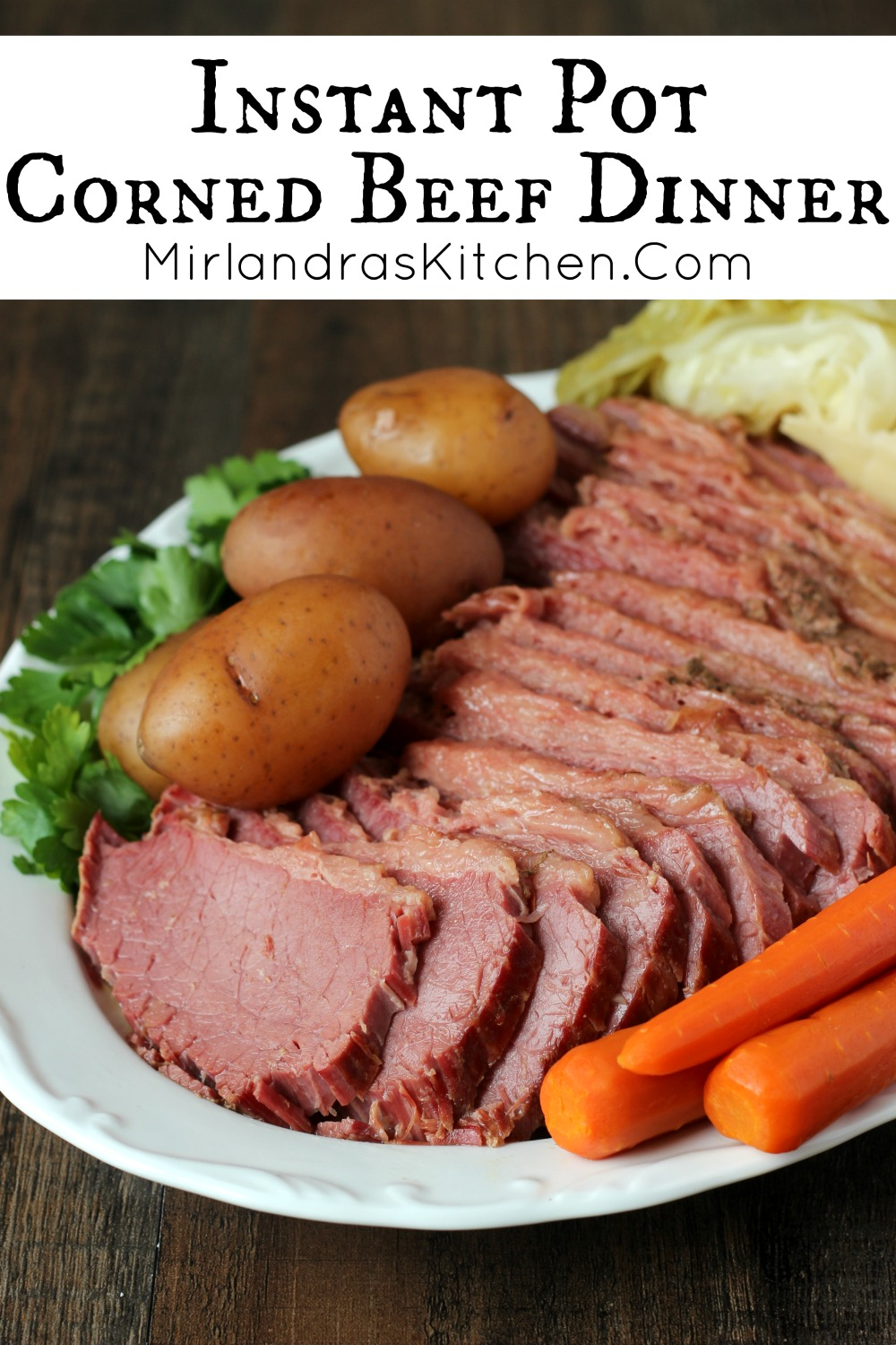 Corned Beef Dinner is my favorite thing to make in the Instant Pot. It is super tender and flavorful - the best corned beef ever! Start to finish it takes just two hours and comes out perfectly every time. My recipe has some secret spices for that perfect corned beef flavor and I walk you through each step of using the Instant Pot so dinner will be easy.