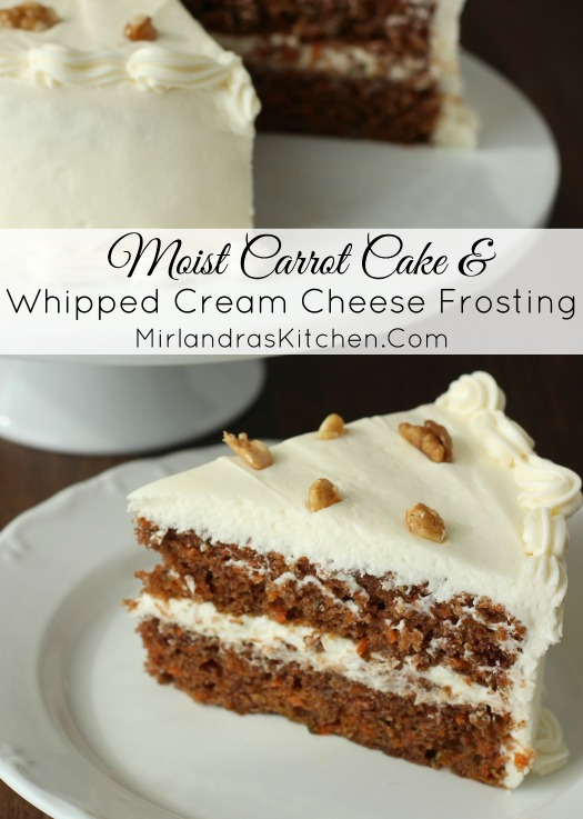 This tender, moist carrot cake is spicy and delicious. Rich, whipped cream cheese frosting with a hint of lemon brings it all together. Both the cake and frosting are easy baking projects for all experience levels.