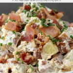 Loaded Potato Salad has all the good stuff: smoked sausage, bacon, cheese, ranch seasoning and chives. Everything you love about baked potatoes in a salad! I'm also sharing my easy secret to perfectly cooked potatoes that don't turn to mush when you make them into potato salad!