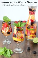 This white sangria is the perfect sweet, fruity, wine drink to serve at a BBQ or cool off with all summer long. I can never decide if the best part is the drink itself or munching on the delicious wine soaked fruit after!