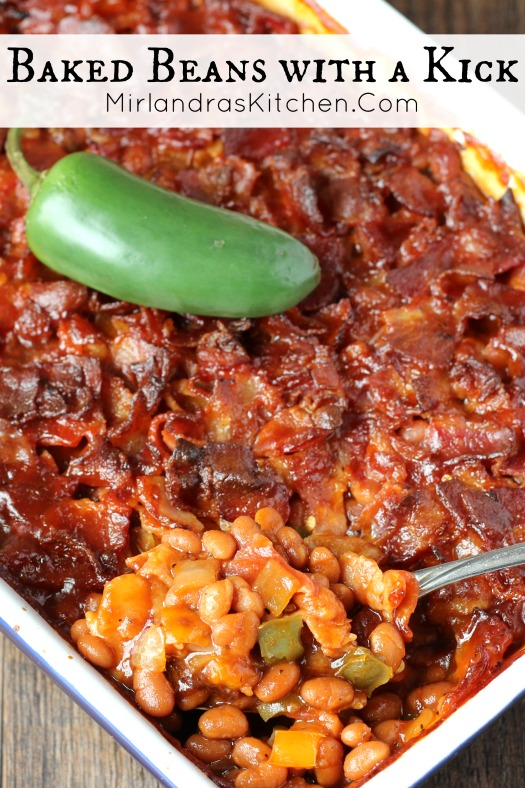 Sweet and Spicy, these Baked Beans are full of flavor and covered with bacon. Friends have called these the best baked beans they have ever had!