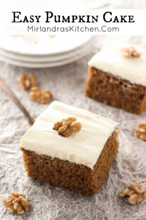 This pumpkin cake is moist and spicy - then it gets slathered with fluffy cream cheese frosting! You can make the cake and frosting in just a few steps. I probably should have called it pumpkin perfection!