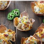 These Jalapeño Popper Wonton Cups are loaded with bacon, cream cheese, jalapeños and cheddar. It is everything you love about poppers in a crunchy wonton! It is the perfect appetizer for a party or the big game!