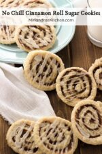 Fall in love with these delicious no chill cinnamon roll sugar cookies! The cookies are soft and sweet and packed full of the delicious cinnamon roll filling we all love. These are the most addictive cookies I have made to date and actually easier than they look (you don't even have to chill the cookie dough.)
