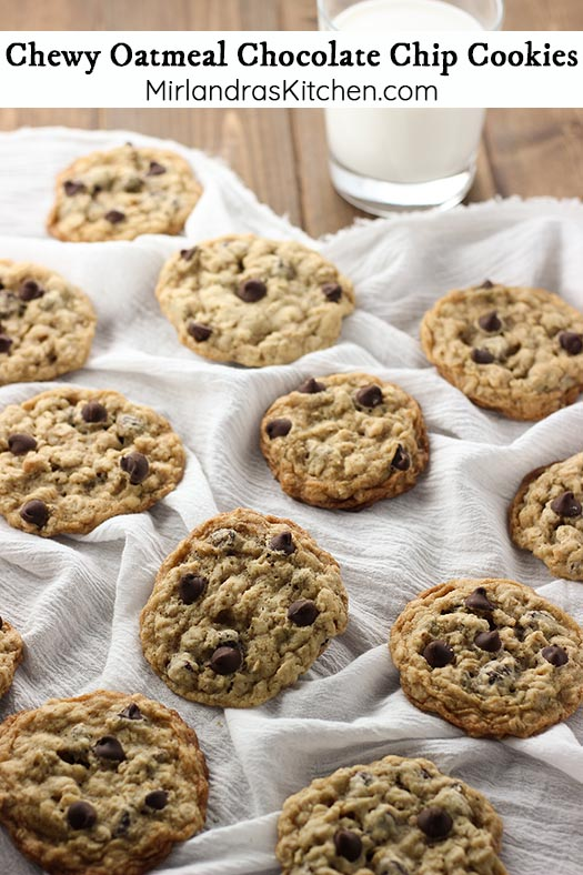 Soft and Chewy Oatmeal Chocolate Chip Cookies are the perfect oatmeal cookie! A hint of crisp at the edge, chewy through the cookie and plenty of chocolate! What else could you want in a cookie?