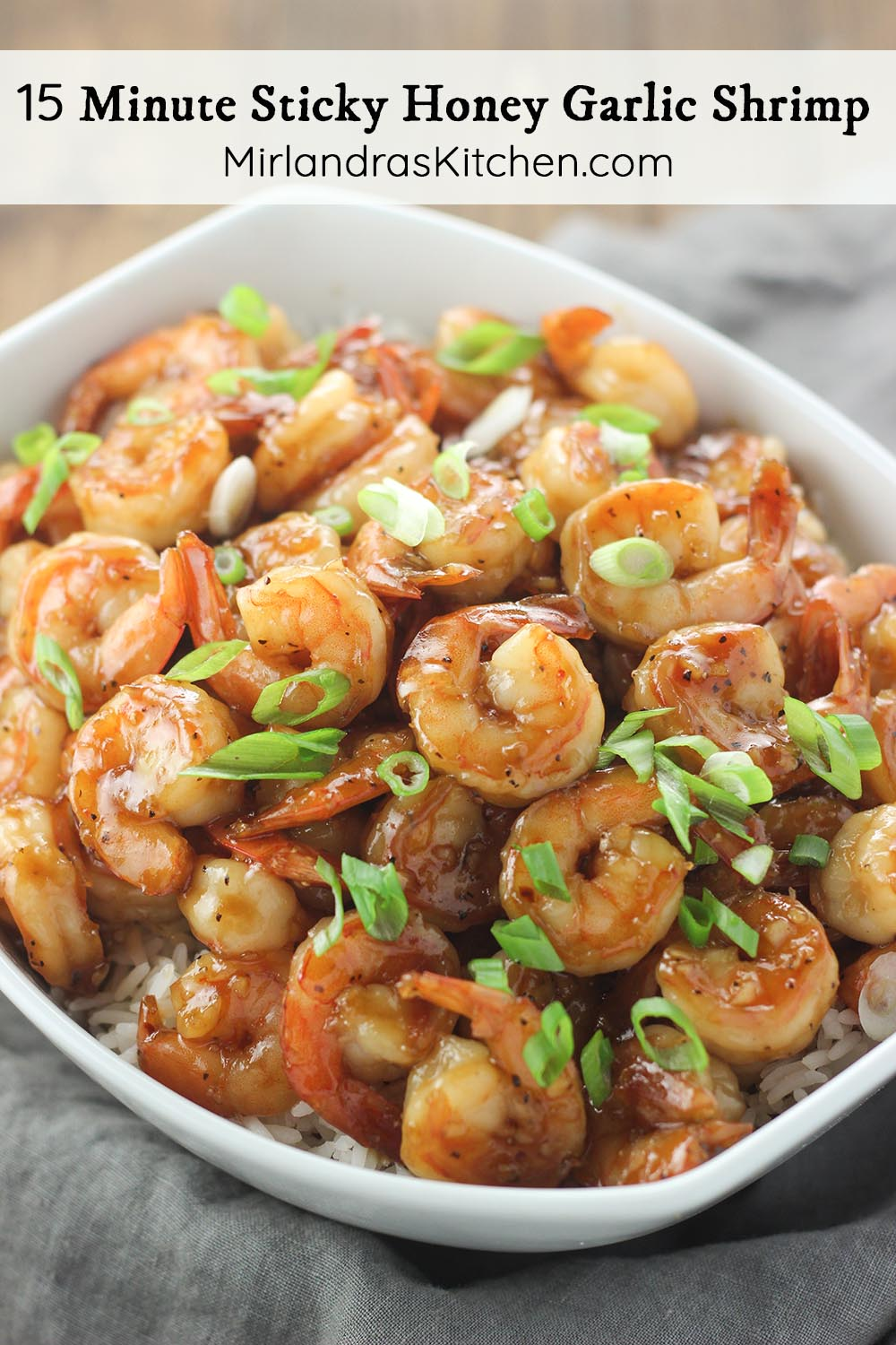 Sticky honey garlic shrimp is a fast and healthy dinner full of flavor with just the right amount of stickiness. This Asian take on shrimp is always a hit! Serve it over rice or individually as a party food if you like. Either way, be prepared for it to disappear quickly!