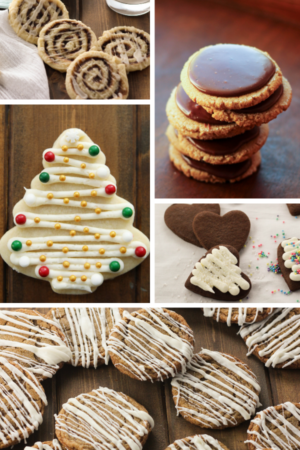 This image is five pictures of cookies assembled together. There are cinnamon roll sugar cookies, peanut butter cookies and chocolate frosting, a frosted cut out sugar cookie, chocolate cut out sugar cookies, and soft ginger cookies with icing.