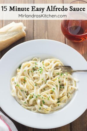 This easy alfredo sauce is the perfect alfredo for pasta, bread stick dipping or even over vegetables. It is perfectly creamy and full of Parmesan cheese. Best of all, you can make it in 15 minutes and everybody will be arguing over the last spoonful.