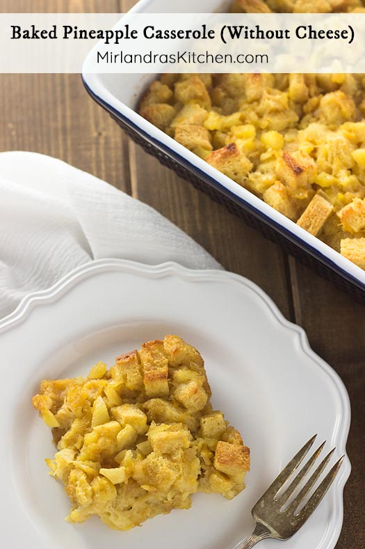This Baked Pineapple Casserole is a Southern classic that makes you think of a really good French toast casserole with fruit and brown sugar. It is usually served as a side dish with ham (which is amazing) but can also be made for breakfast or brunch. Serve it warm or cold and watch it steal the show at Easter!