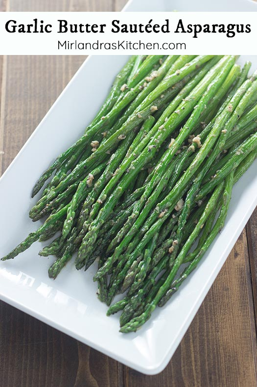 Garlic Butter Sautéed Asparagus is a fast and easy side dish perfect for weeknight dinners and holiday feasts. Everything you need (except the asparagus) is probably already in your fridge! Check out my tips for picking out perfect asparagus in the store (bottom of recipe).