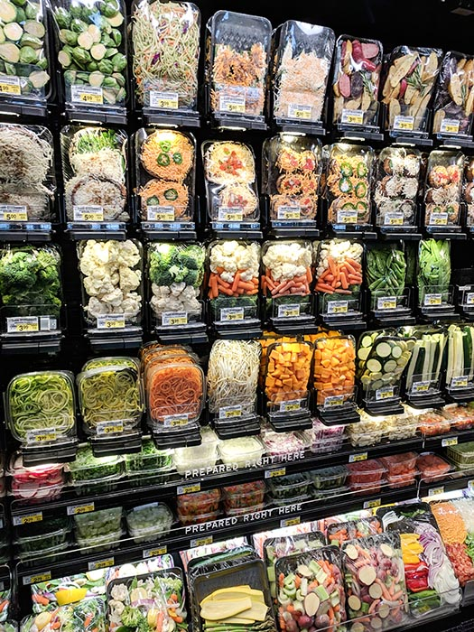 Grab and go healthy vegetable options from Albertsons on Broadway.  Zucchini noodles, carrot noodles, squash chunks, stir fry mixes, bean sprouts and other prepared vegetables.