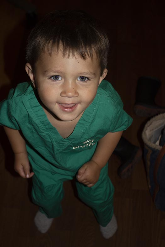 Jack in his Big Brother scrubs at the hospital