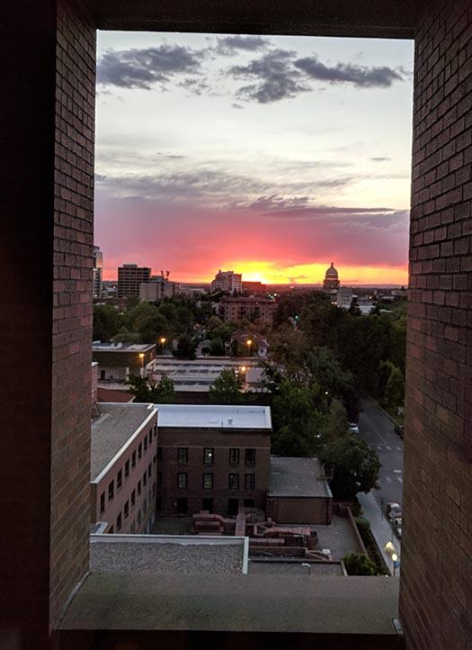 Striking sunset over the Idaho capitol the night Ella was born.