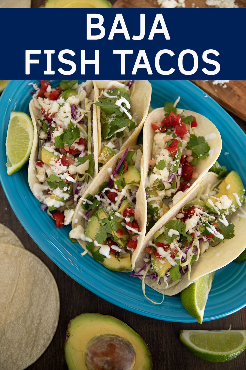 Stunning blue platter of healthy fish tacos made with cod.