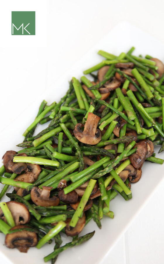 Sauteed asparagus and mushrooms is a wonderfully simple recipe that takes a few minutes and minimal ingredients. Asparagus is a great vegetable that can be prepared easily for a quick weeknight dinner side or served on Valentine's Day or Easter. ( This is one my 10 most popular recipes year after year!)