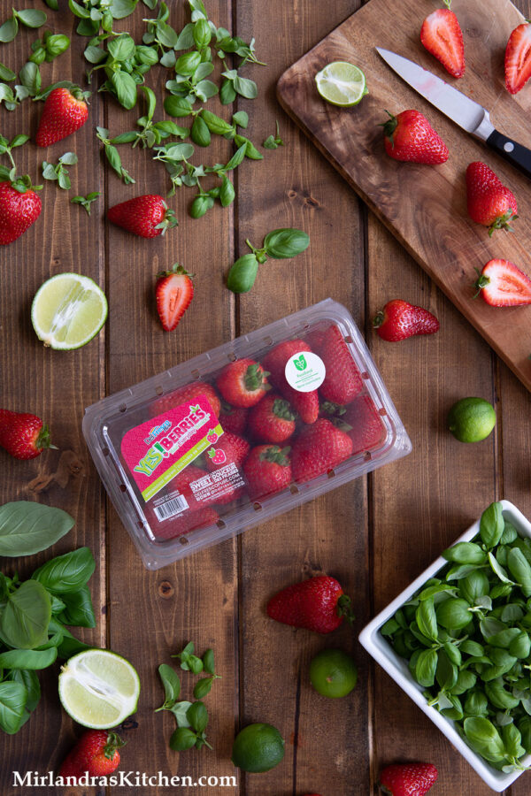 YES!Berries Your Everyday Snack!™  Delicious strawberries from DelFrescoPure.  Pictured here with basil microgreens, sliced limes and key limes.