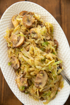 Cabbage is the surprise vegetable you didn't know you LOVE! This is a quick and easy recipe with butter and mushrooms. Full of flavor, it makes the perfect side dish for pork, chicken and even turkey!