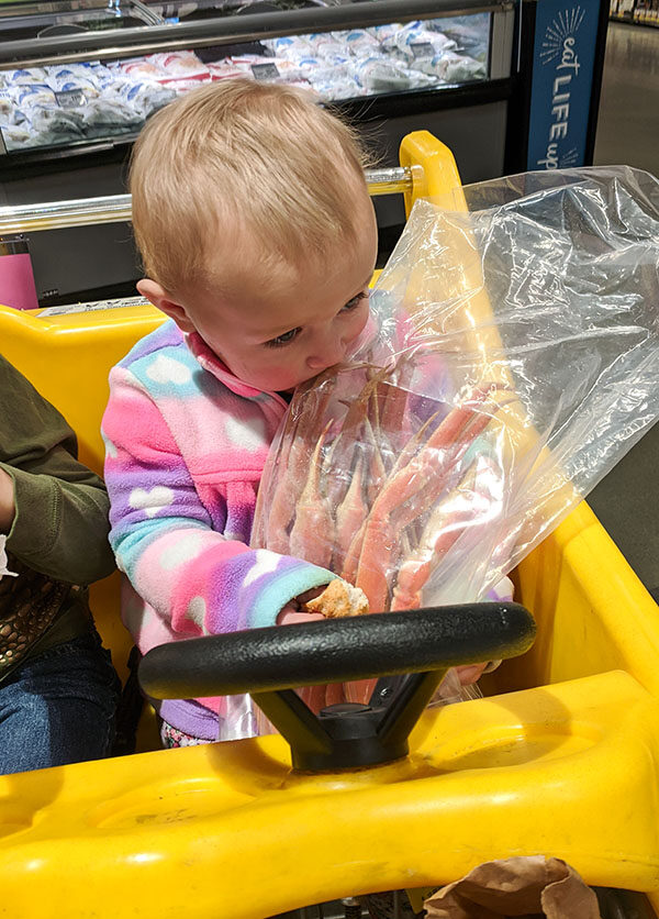 Our daughter (age 18 months) was so excited to get crab legs she tried to eat the frozen legs through the bag at the store!
