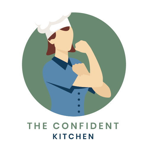 A woman in a chef hat and blue shirt flexing her muscle.  The logo for The Confident Kitchen.